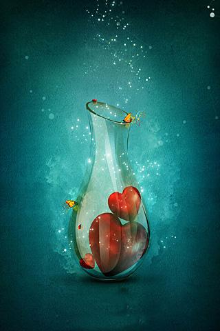 Bottle of Hearts iphone wallpaper