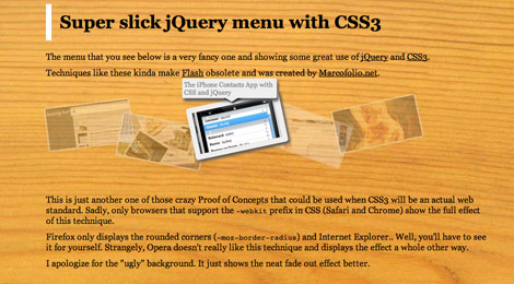 Slick jQuery Menu