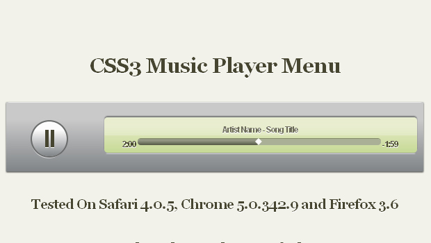 CSS3 Music Player Menu