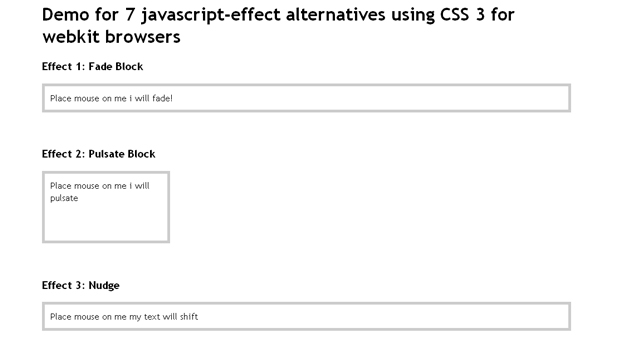 javascript-effect alternatives using CSS3 for webkit browsers