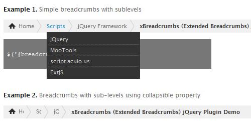 Extended Breadcrumbs Jqury Plugin