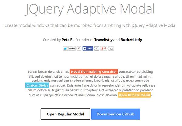 Adaptive Modal