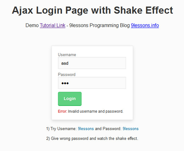 Login Page with Shake Effect